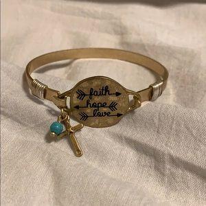 Women's bracelet bangle gold faith Hope love cross